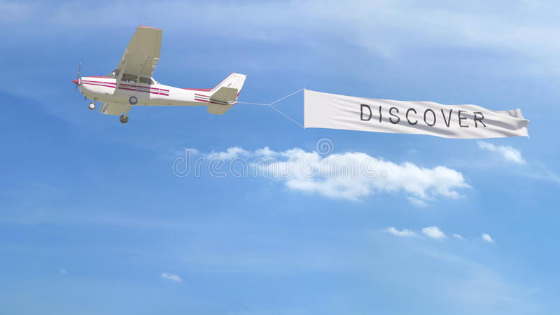 A bandeira pequena do reboque do avião da hélice com DESCOBRE o subtítulo no céu rendição 3d ilustração stock