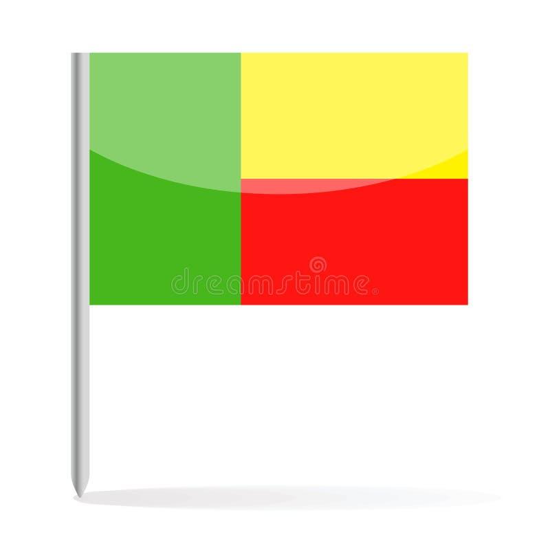 Bandeira Pin Vetora Icon de Benin ilustração stock