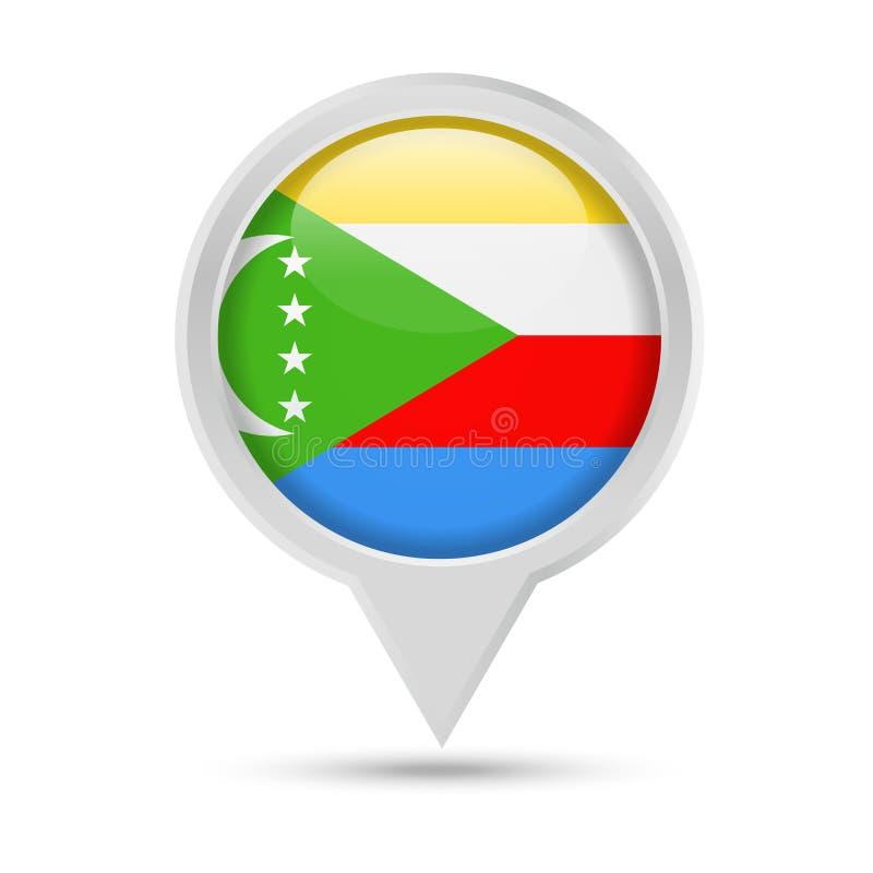 Bandeira Pin Vetora Icon redondo de Comores ilustração stock