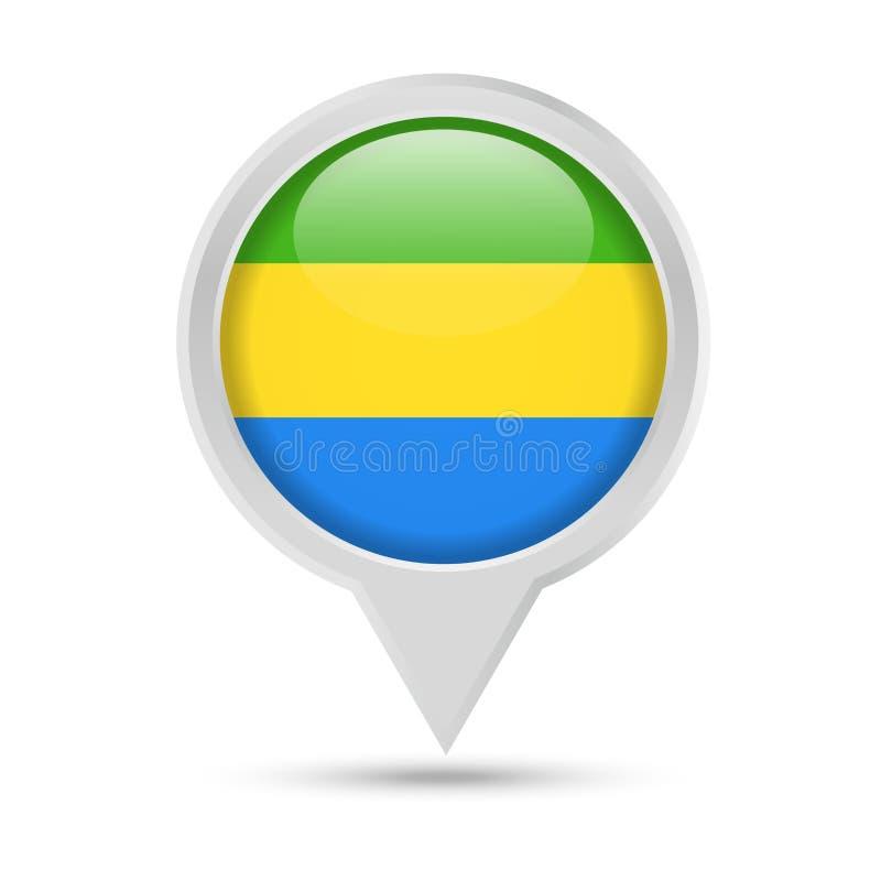 Bandeira Pin Vetora Icon redondo de Gabão ilustração stock