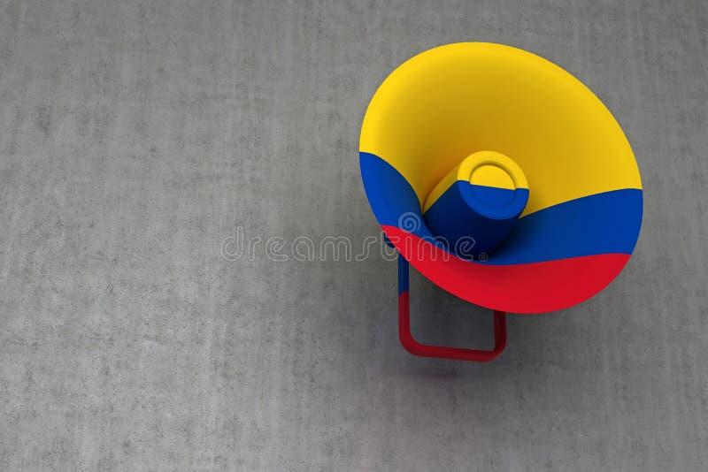 Bandeira pintada altifalante de Colômbia ilustração stock
