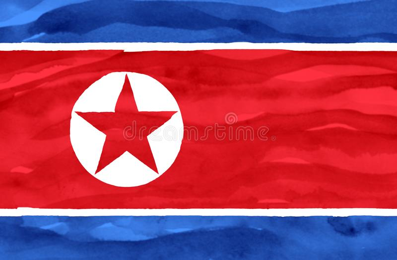 Bandeira pintada da Coreia do Norte fotografia de stock royalty free