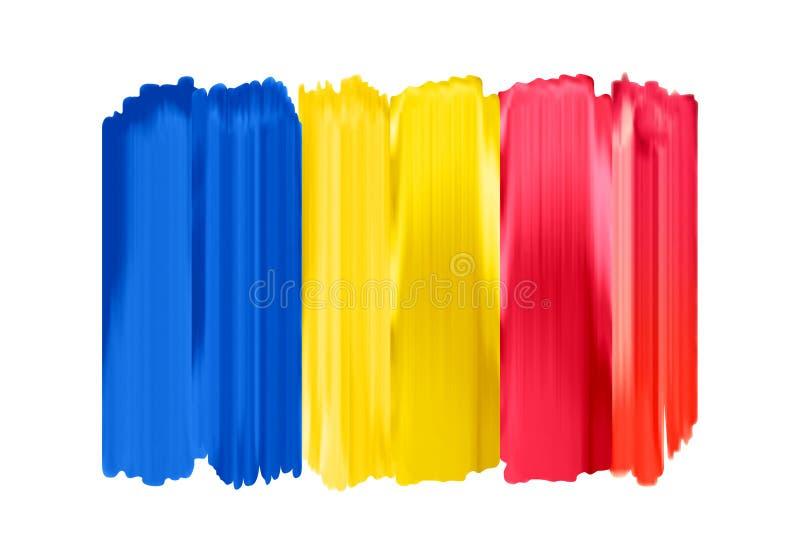 Bandeira pintada da escova de Romênia cursos coloridos ilustração stock