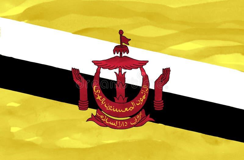 Bandeira pintada de Brunei Darussalam fotografia de stock
