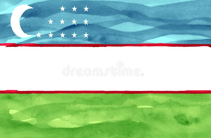 Bandeira pintada de Usbequistão foto de stock royalty free