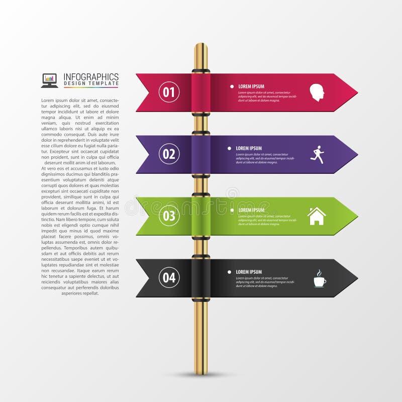 A bandeira pisa molde do negócio Projeto de Infographic ilustração stock
