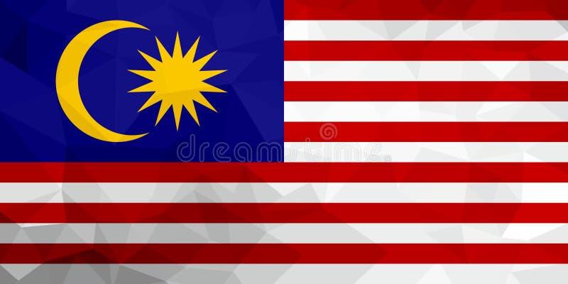 Bandeira poligonal de Malásia Fundo moderno do mosaico Projeto geométrico ilustração royalty free