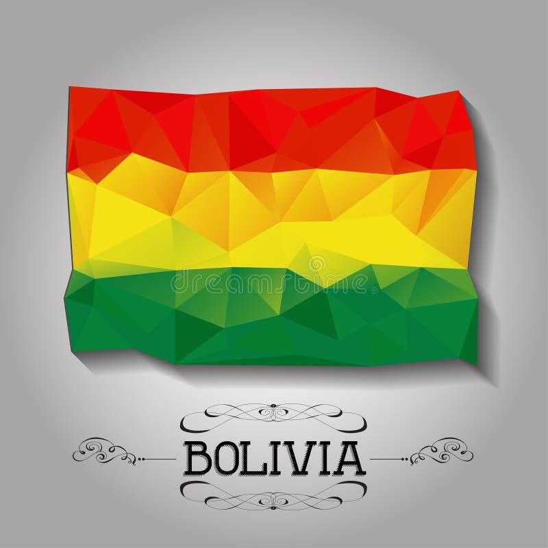 Bandeira poligonal geométrica de Bolívia do vetor ilustração royalty free