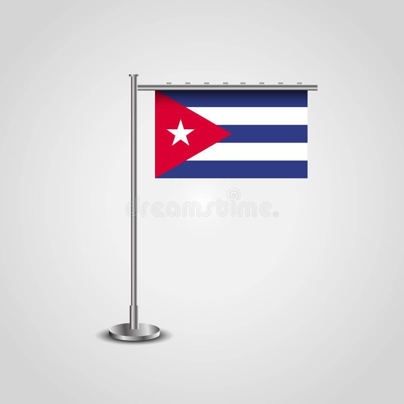 Bandeira polo de Cuba ilustração stock