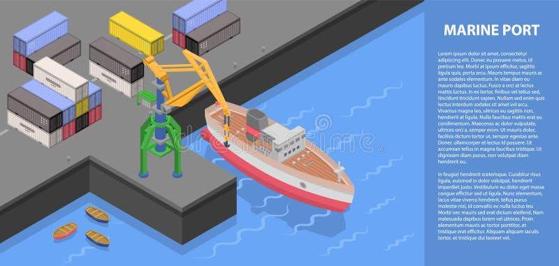 Bandeira portuária marinha do conceito, estilo isométrico ilustração stock