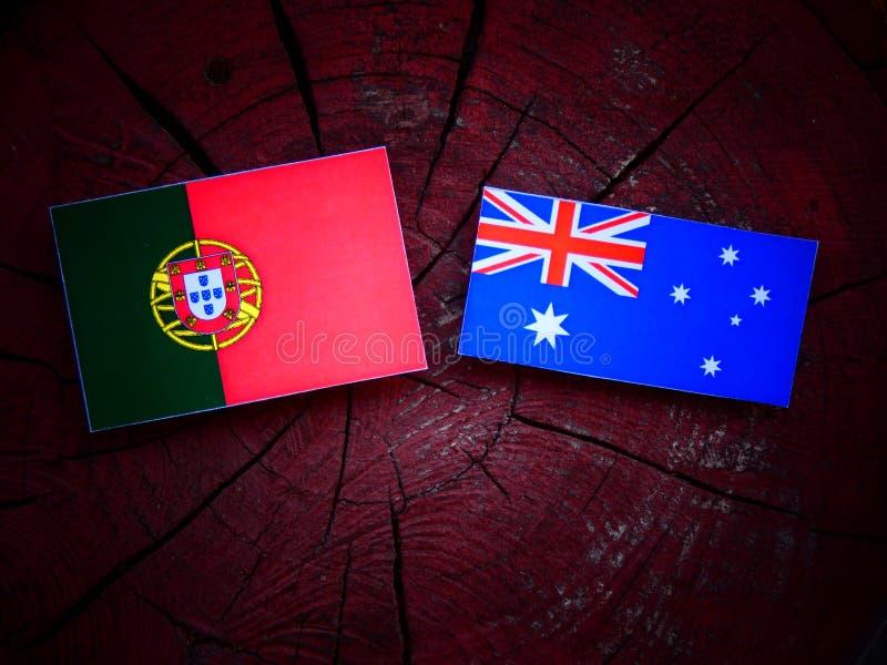 Bandeira portuguesa com bandeira australiana em um coto de árvore isolado fotos de stock royalty free