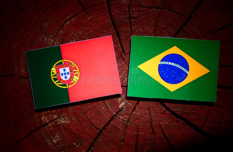 Bandeira portuguesa com bandeira brasileira em um coto de árvore isolado fotografia de stock royalty free
