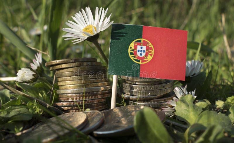 A bandeira portuguesa com a pilha de dinheiro inventa com grama imagens de stock royalty free