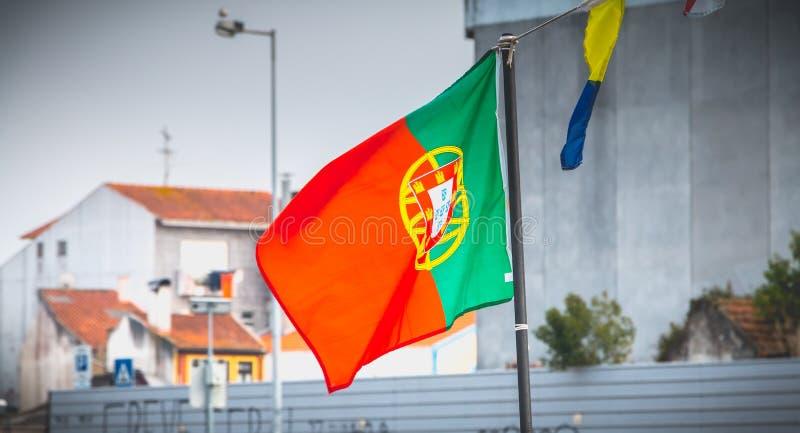 Bandeira portuguesa em um transporte do barco de turista em aveiro, Portugal imagens de stock royalty free