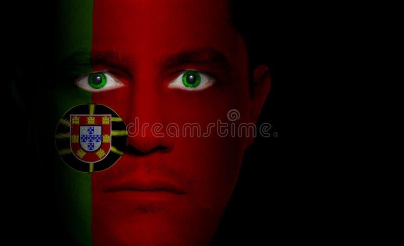 Bandeira portuguesa - face masculina fotos de stock royalty free