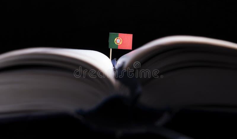 Bandeira portuguesa no meio do livro Conhecimento e educati fotografia de stock