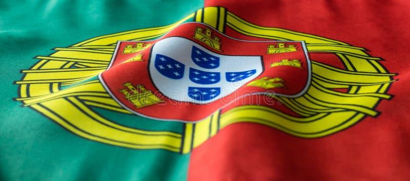 Bandeira portuguesa que acena como visto de uma vista dianteira fotos de stock royalty free