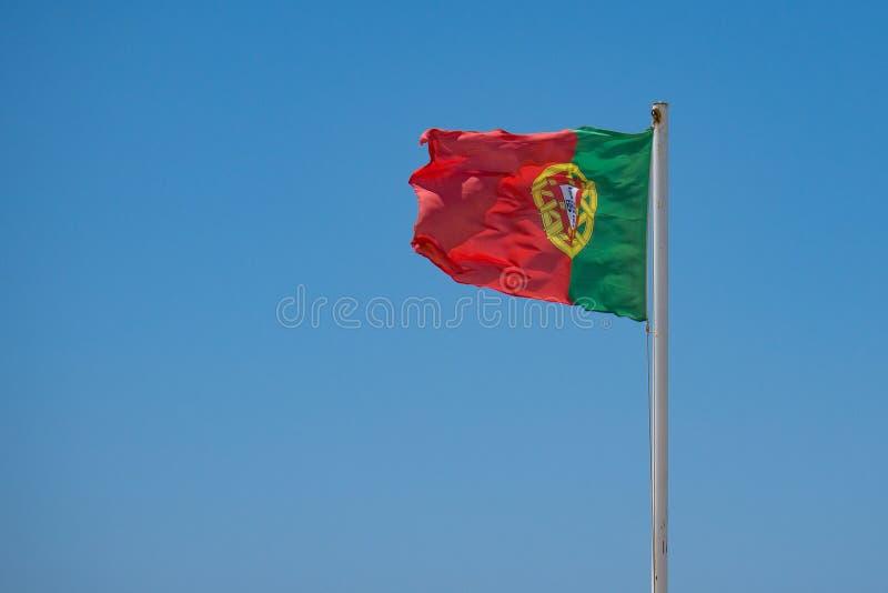 Bandeira portuguesa que acena no vento foto de stock royalty free