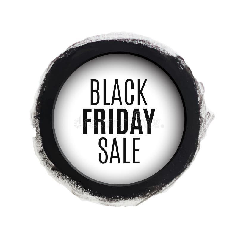Bandeira preta da aquarela do círculo de venda de sexta-feira ilustração stock