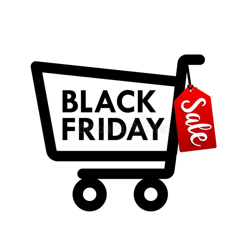 Bandeira preta da etiqueta da Web de sexta-feira com ícone do carrinho de compras para o promotio ilustração stock