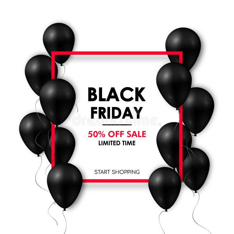 Bandeira preta da venda de sexta-feira Balões pretos brilhantes no fundo branco com quadro vermelho ilustração royalty free
