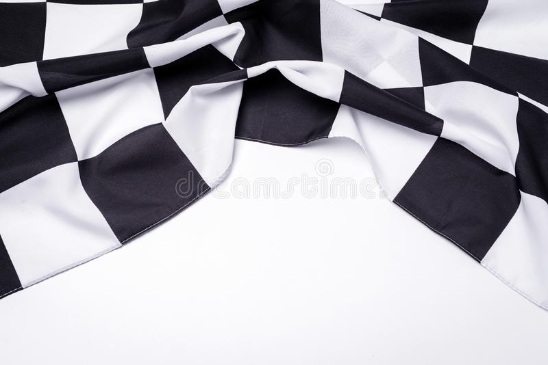 Bandeira preto e branco Checkered Copie o espaço fotos de stock