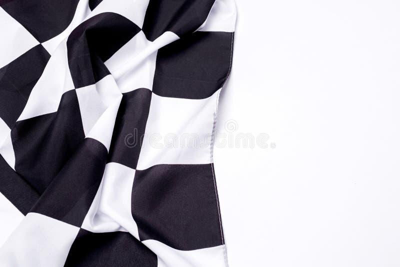 Bandeira preto e branco Checkered Copie o espaço fotos de stock royalty free