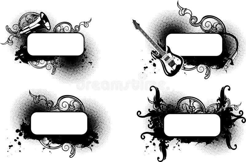 Bandeira preto e branco de quatro Musica. ilustração royalty free