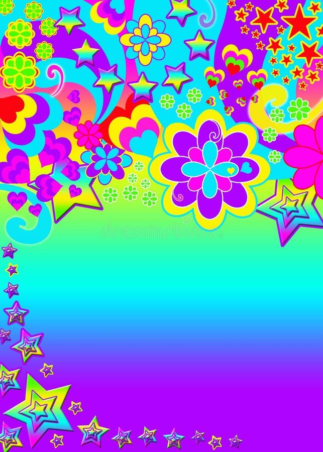 Bandeira psicadélico Funky ilustração do vetor