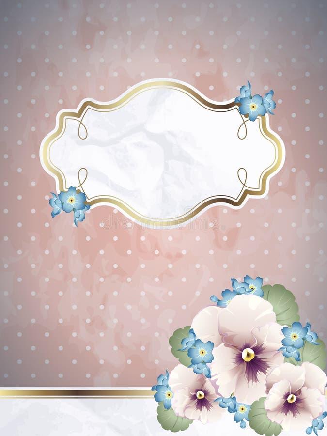 Bandeira quadrada cor-de-rosa romântica com flores ilustração stock