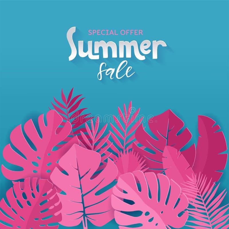 Bandeira quadrada da venda do verão da oferta especial com palma cor-de-rosa, monstera, folhas da banana no fundo azul com rotula ilustração stock