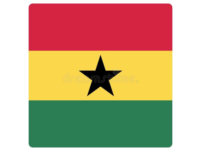 Bandeira quadrada de Gana ilustração royalty free