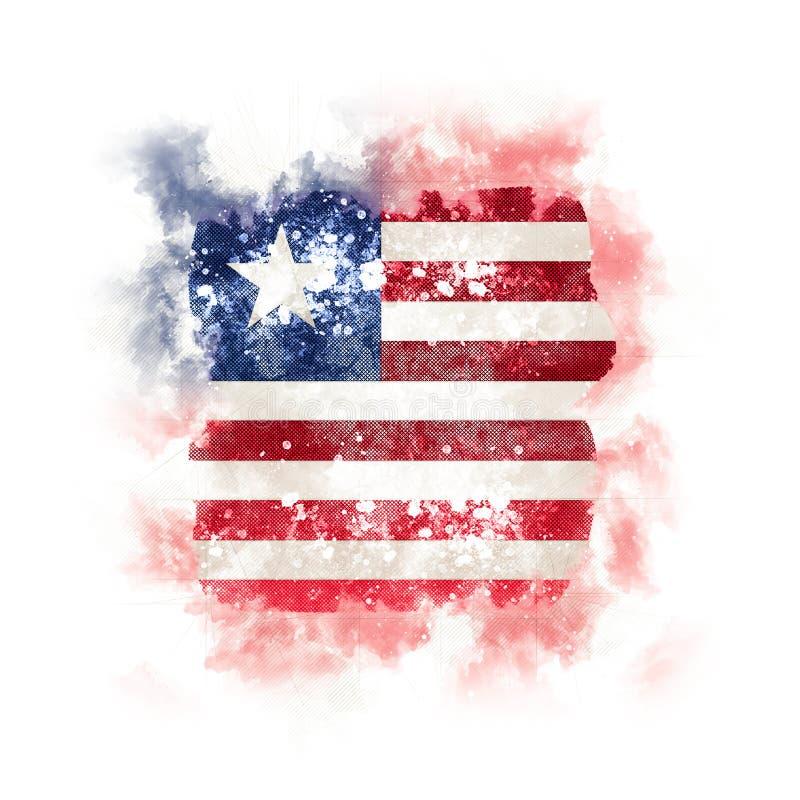 Bandeira quadrada do grunge de liberia ilustração stock