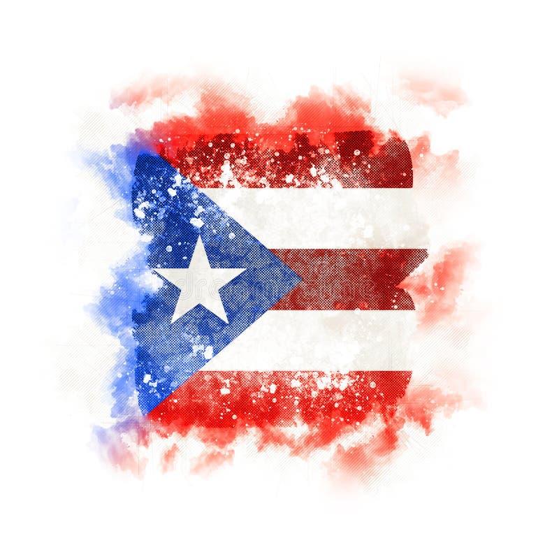 Bandeira quadrada do grunge de Puerto Rico ilustração do vetor