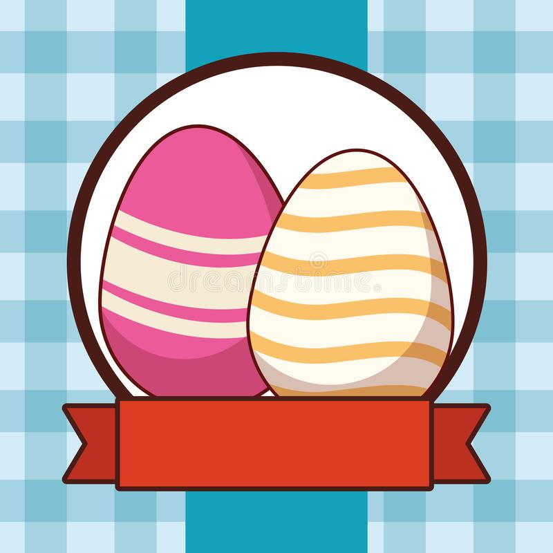 Bandeira quadriculado pintada colorida da fita do quadro do c?rculo do fundo dos ovos da p?scoa ilustração royalty free