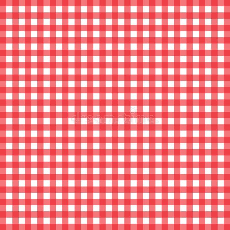 Bandeira quadriculado vermelha e branca da toalha de mesa Textura para: pla imagem de stock