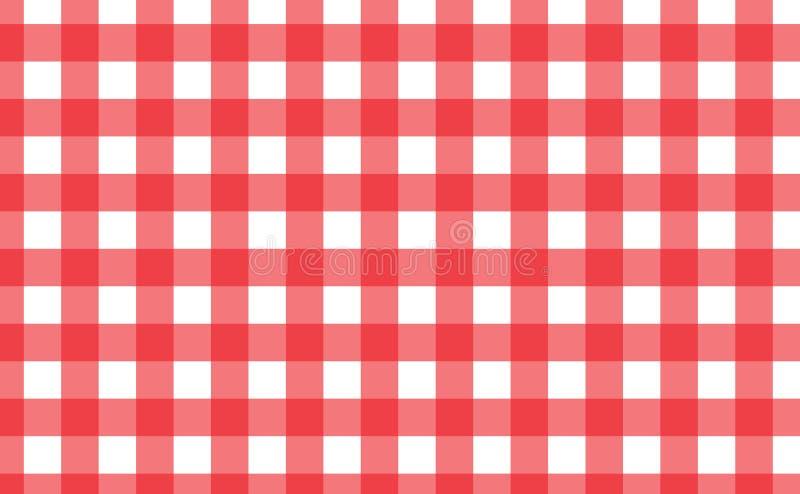 Bandeira quadriculado vermelha e branca da toalha de mesa Textura para: pla fotos de stock