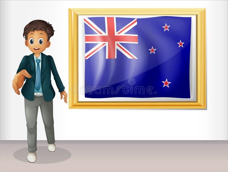 A bandeira quadro de Nova Zelândia com um homem ilustração do vetor