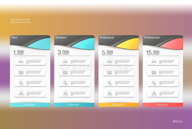 Bandeira quatro para as tarifas e as tabelas de preços Elementos do Web Acolhimento do plano Projeto do vetor para a Web app ilustração do vetor