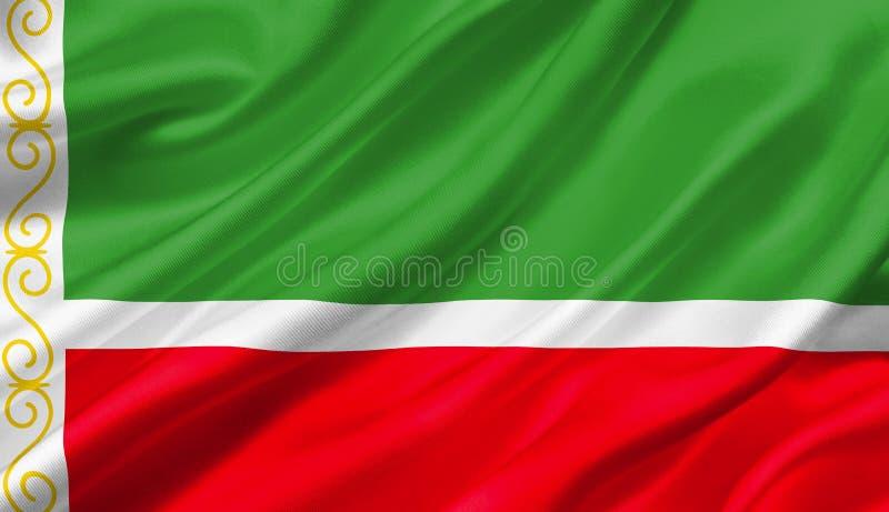 Bandeira que acena com o vento, de Chechnya ilustração 3D ilustração stock