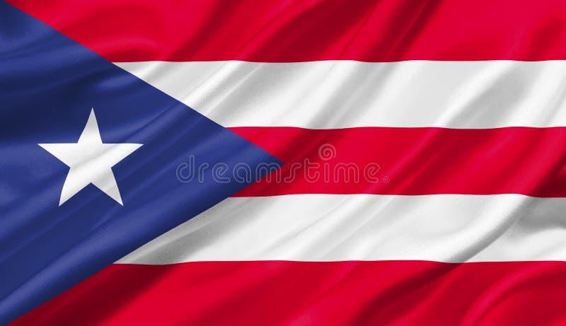 Bandeira que acena com o vento, de Porto Rico ilustração 3D ilustração stock