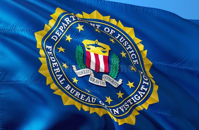 Bandeira que acena no vento, do FBI rendição 3D Estados Unidos do FBI Serviço secreto de Estados Unidos Federal Bureau of Investi ilustração stock