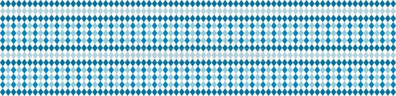Bandeira rústica para o teste padrão branco de Oktoberfest e azul tradicional do rombo Bandeira do vetor ilustração do vetor