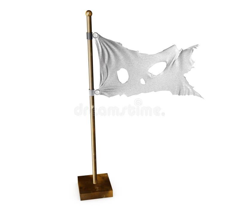 Bandeira rasgada branca O símbolo da paz após a guerra 3d rendem ilustração royalty free
