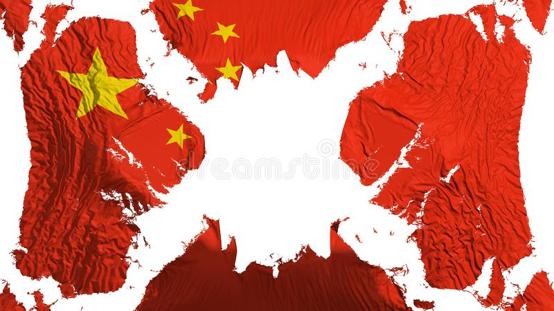 Bandeira rasgada China que vibra no vento ilustração stock