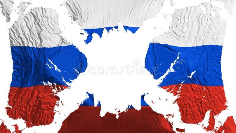 Bandeira rasgada Rússia que vibra no vento ilustração do vetor