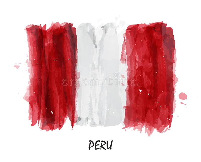 Bandeira realística da pintura da aquarela do Peru Vetor ilustração stock