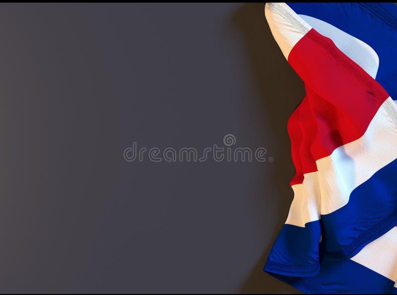 a bandeira realística rican da costela no quadro-negro com espaço para o texto, 3d rende ilustração royalty free