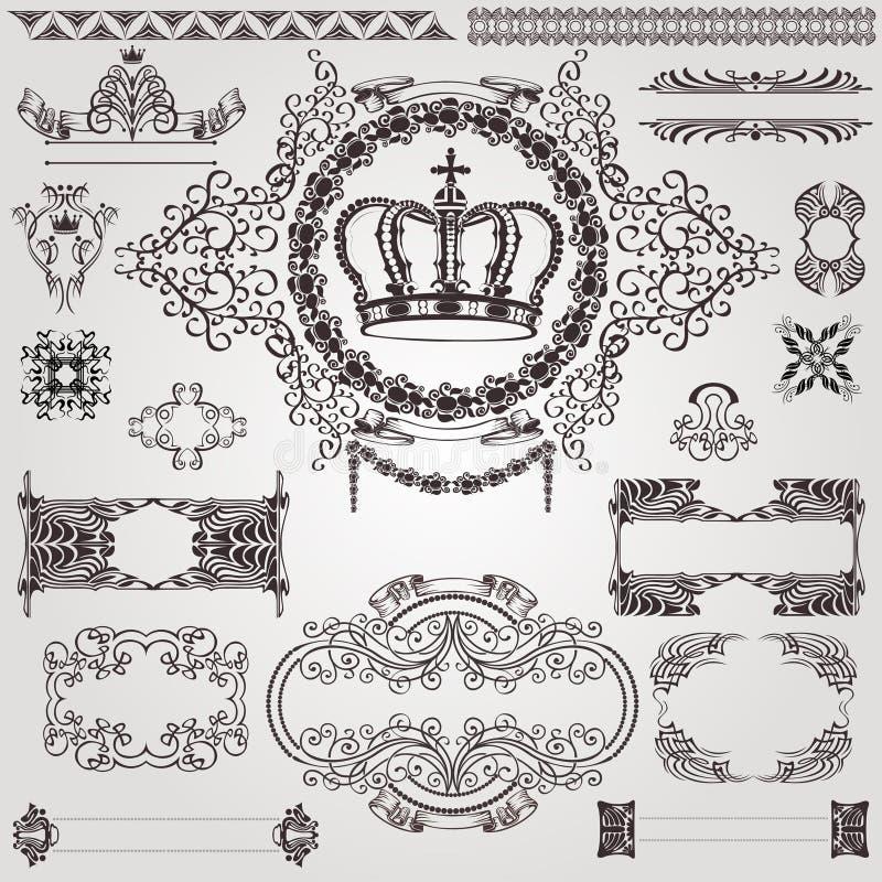 Bandeira real da etiqueta do nouveau da arte ilustração do vetor