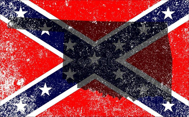 Bandeira rebelde da guerra civil com mapa de Oklahoma ilustração stock